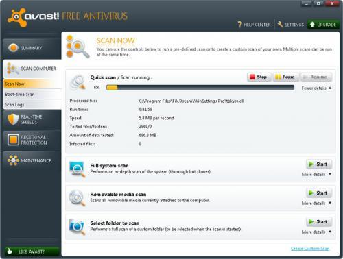 avast antivirus gratuit version 6.0.1289